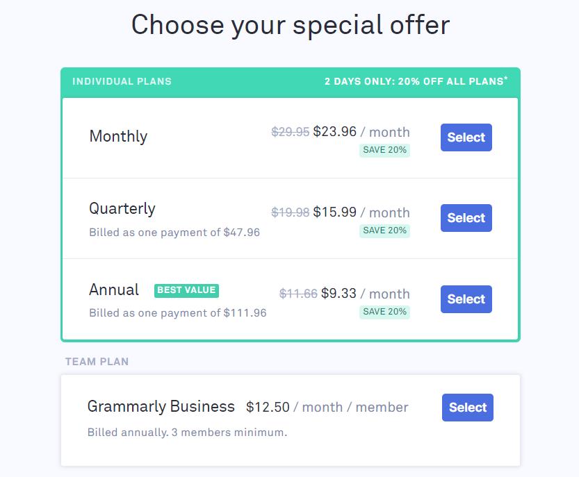 Grammarly premium price