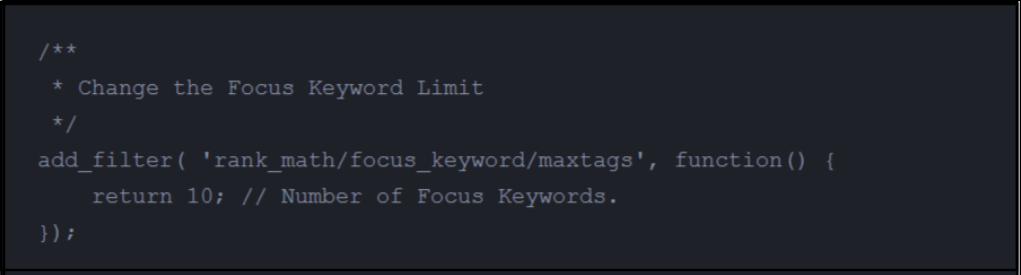 Rankmath keywords filters
