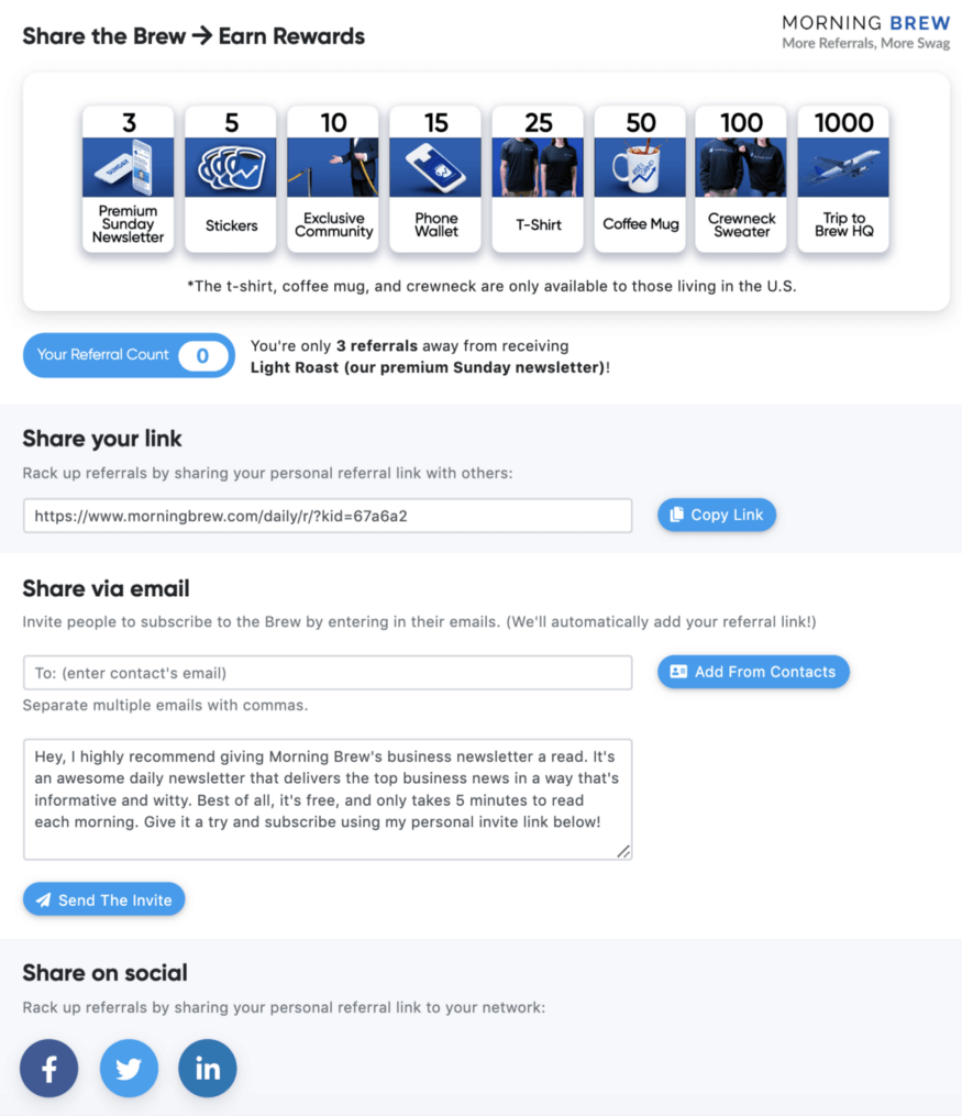 Email Referral Program example