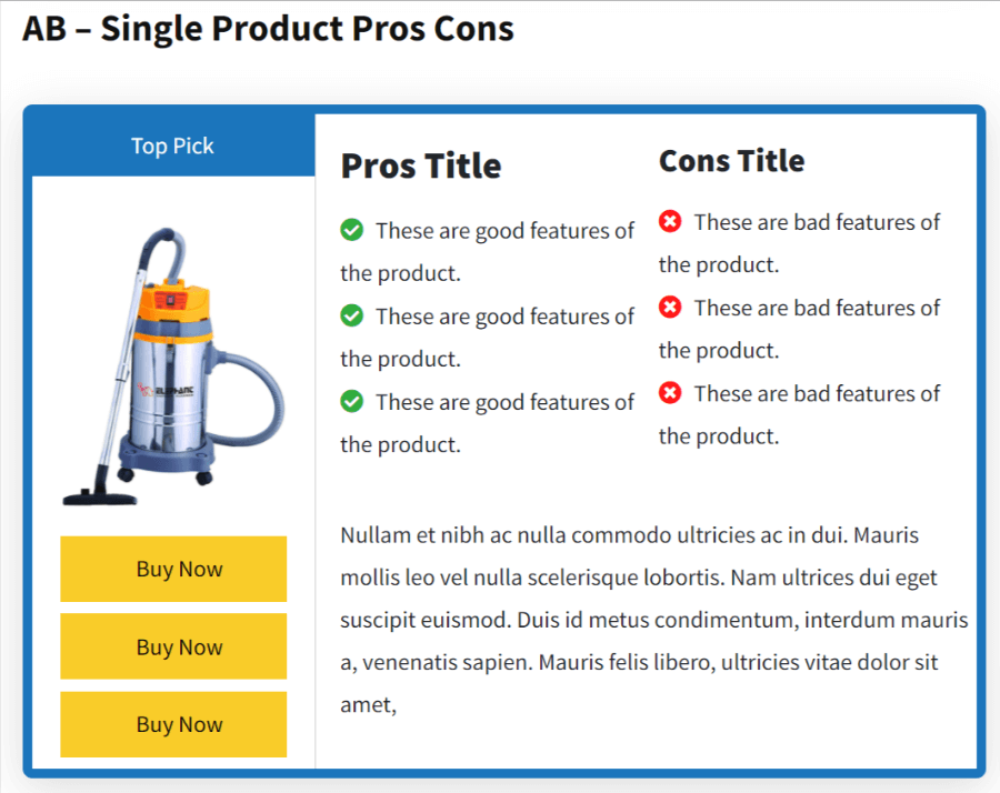 AB Single Product Pros and Cons