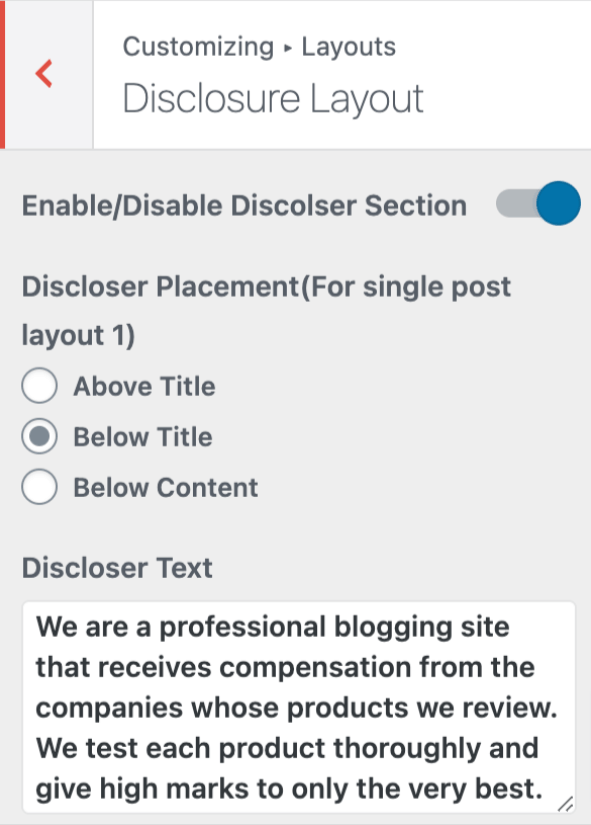 Affiliate Booster Disclosure Layout